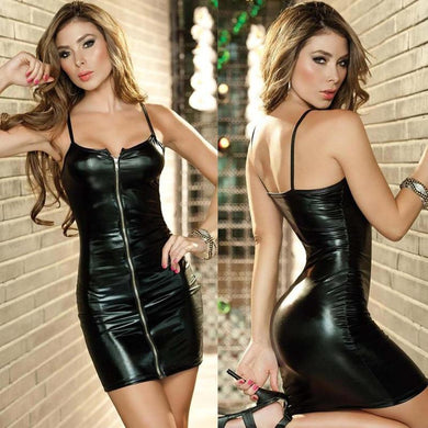 PU Leather Erotic Dress with Zipper | Sexy Lingerie Canada