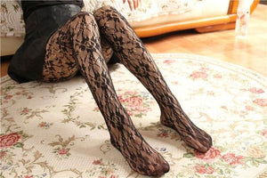 Sexy Women Rose Flower Lace Mesh Stockings | Sexy Lingerie Canada