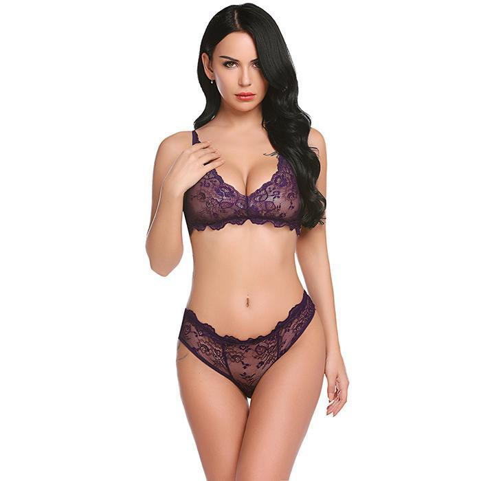 Sleepwear Set Hot Erotic Women Lace Floral Lingerie | Sexy Lingerie Canada