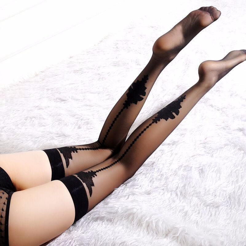 Ultra Thin Printed Women Over Knee Stockings | Sexy Lingerie Canada