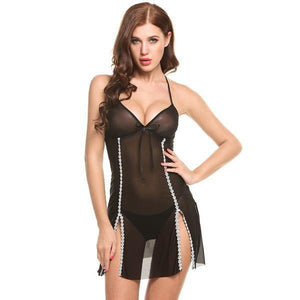 V-Neck See-through Backless Nightdress | Sexy Lingerie Canada