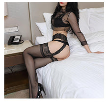 Load image into Gallery viewer, Women Lace Soft Top Thigh-Highs Stockings + Suspender | Sexy Lingerie Canada