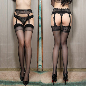 Women Lace Soft Top Thigh-Highs Stockings + Suspender | Sexy Lingerie Canada