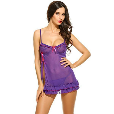Women Lingerie Dress Side Slit Babydoll Chemise with G-string | Sexy Lingerie Canada