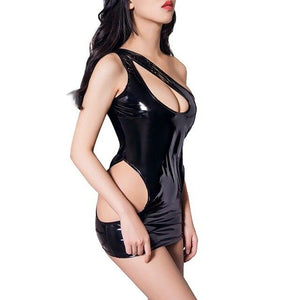 Women One Shoulder PVC Leather Lingerie | Sexy Lingerie Canada