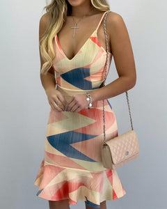 Spaghetti Strap Colorblock Print Ruffles Dress