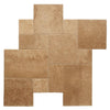 Walnut Travertine Brushed and Chiseled Versailles Pattern Tile
