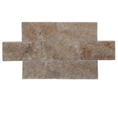 Walnut Travertine 6x12 Tumbled Paver