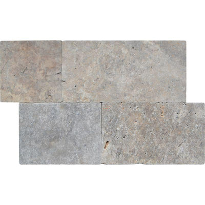 Silver Travertine 3cm Linear Pattern Tumbled Paver