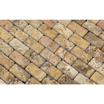 Scabos Travertine 1x2 Tumbled Mosaic Tile