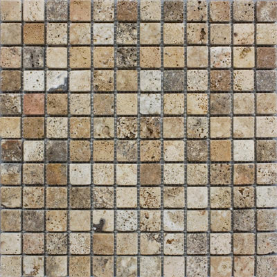 Scabos Travertine 1x1 Tumbled Mosaic Tile