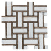 Calacatta Amber Marble Basketweave Honed Mosaic Tile