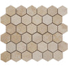 Ivory Travertine 2x2 Hexagon Honed Mosaic Tile