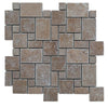 Noce Travertine Micro Mini Pattern Tumbled Mosaic Tile