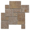 Noce Travertine Opus Mini Pattern Tumbled Mosaic Tile