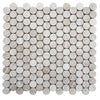 Haisa Light (White Oak) Marble Penny Round Honed Mosaic Tile