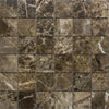 Emperador Dark Spanish Marble 2x2 Polished Mosaic Tile