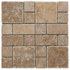 Noce Travertine Mini Pattern Tumbled Mosaic Tile