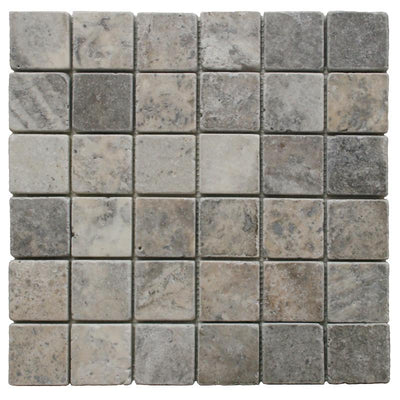 Silver Travertine 2x2 Tumbled Mosaic Tile