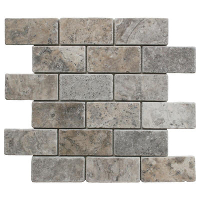 Silver Travertine 2x4 Tumbled Mosaic Tile