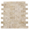 Ivory Travertine 1x2 Split Face Mosaic Tile