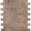 Noce Travertine 1x2 Split Face Mosaic Tile