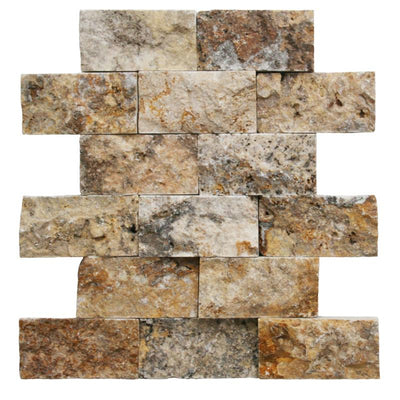 Scabos Travertine 2x4 Split Face Mosaic Tile