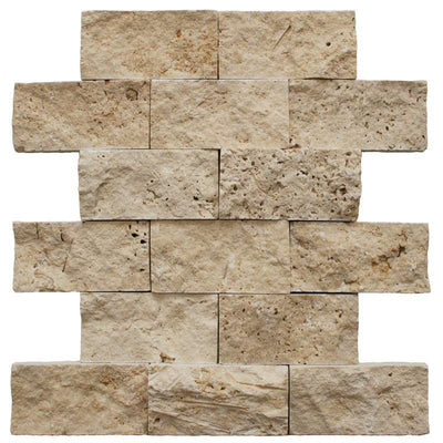 Ivory Travertine 2x4 Split Face Mosaic Tile