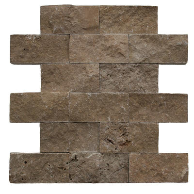 Noce Travertine 2x4 Split Face Mosaic Tile