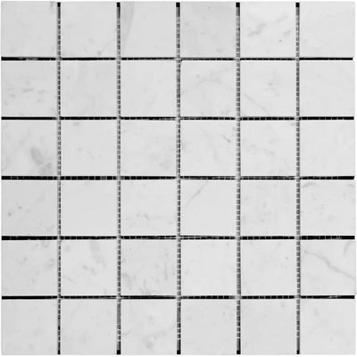 White Carrara Marble 2x2 Polished Mosaic Tile
