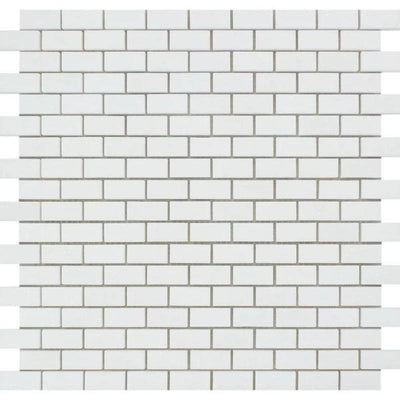 Thassos White Marble 5/8 x 1 1/4 Honed Mini Brick Mosaic Tile