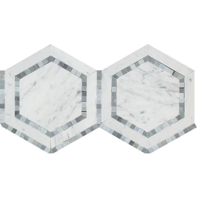 White Carrara Marble 5x5 Hexagon with Blue Honed Mosaic Tile