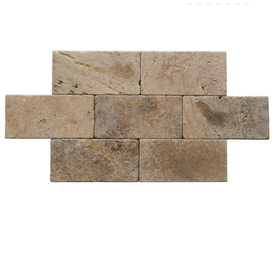 Scabos Travertine 6x12 3cm Tumbled Paver