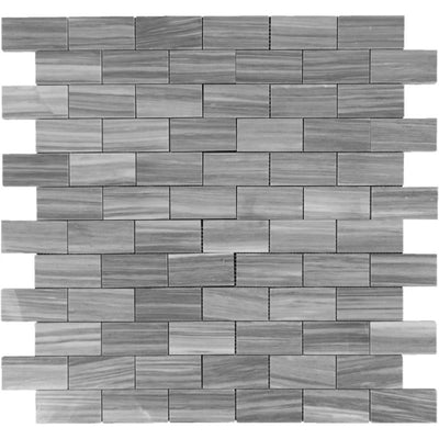 Bardiglio Scuro Marble 2x4 Polished Mosaic Tile