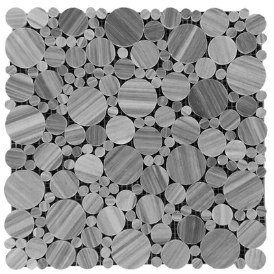 Bardiglio Scuro Marble Bubble Design Polished Mosaic Tile