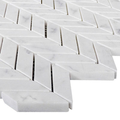 White Carrara Marble Mini Chevron Honed Mosaic Tile