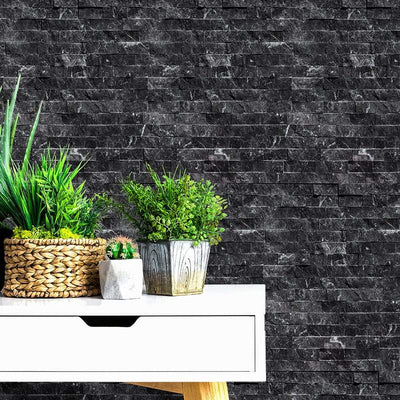 Black Marble 6x24 Stacked Stone Ledger Panel