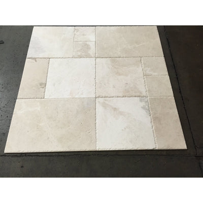 Botticino Beige Marble Brushed and Chiseled Versailles Pattern Tile