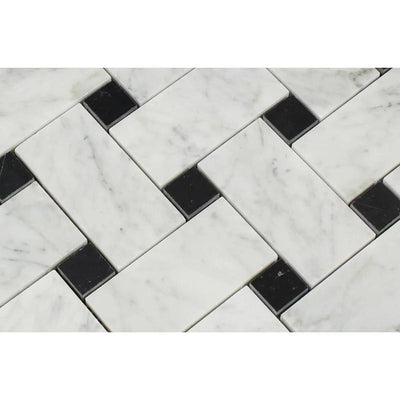 White Carrara Marble Large Basketweave with Black Dots Polished Mosaic Tile