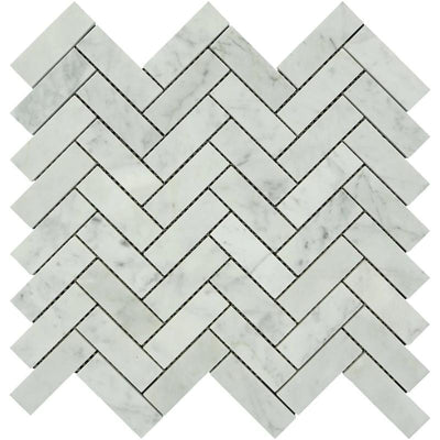White Carrara Marble 1x3 Herringbone Polished Mosaic Tile