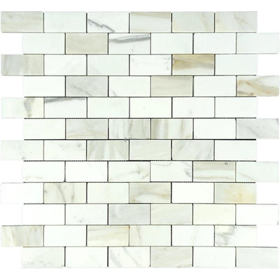 Calacatta Gold Marble 2x4 Polished Mosaic Tile