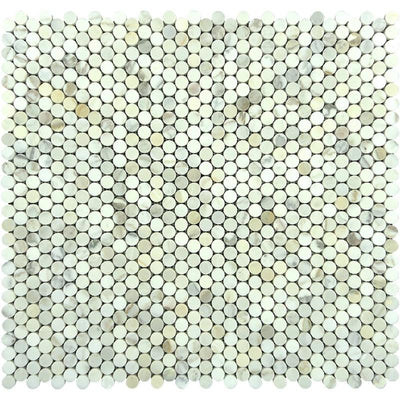 Calacatta Gold Marble Penny Round Honed Mosaic Tile
