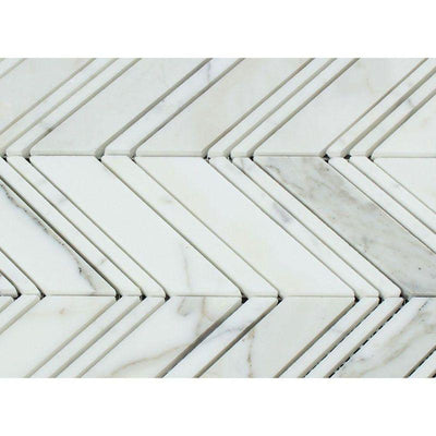 Calacatta Gold Marble Chevron Honed Mosaic Tile