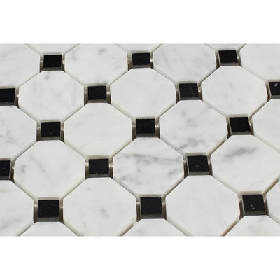 White Carrara Marble Octagon with Black Dots Polished Mosaic Tile