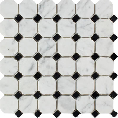 White Carrara Marble Octagon with Black Dots Honed Mosaic Tile