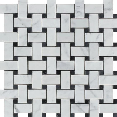 White Carrara Marble Polished Basketweave with Black Dots Mosaic Tile