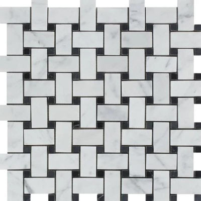 White Carrara Marble Honed Basketweave with Black Dots Mosaic Tile