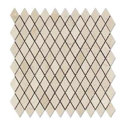 Crema Marfil Marble 1x2 Diamond Polished Mosaic Tile