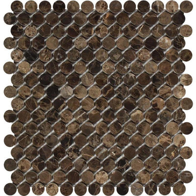 Emperador Dark Spanish Marble Penny Round Polished Mosaic Tile