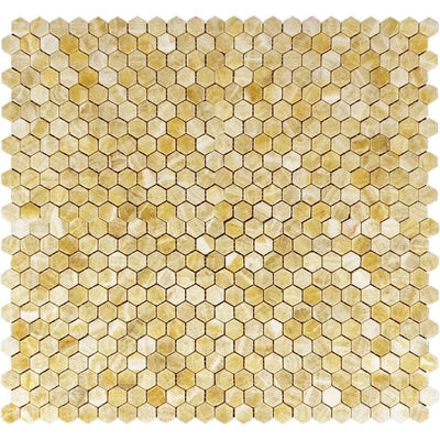 Honey Onyx 1x1 Hexagon Polished Mosaic Tile